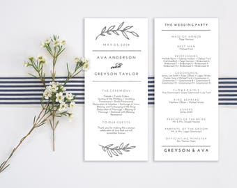 Wedding Program Editable Template | Program Printable, Ceremony Printable | Silver Rustic Leaves | 4x9"
