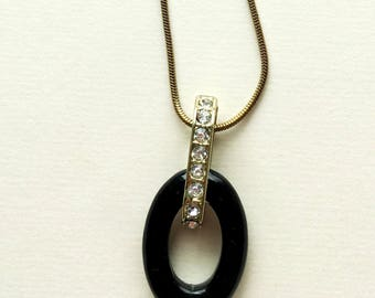 Black Oval Stone Necklace with Crystal Bale