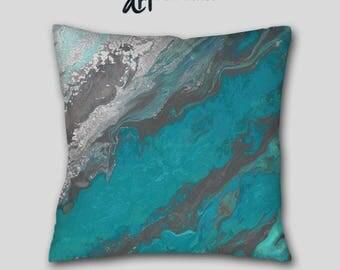 Abstract Decorative Throw Pillow Aqua Teal Navy Blue Purple