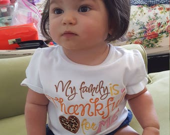 My Family is Thankful for Me  Short sleeve Bodysuit, Shirt -  First Thanksgiving - Baby Turkey