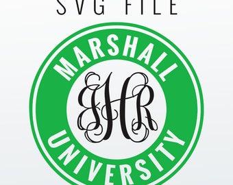 Marshall University Monogram Frame Cutting Files in Svg, Eps, Dxf, Png for Cricut & Silhouette | The Herd Vector | Thundering Herd Graphics