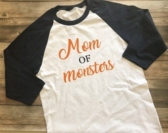 Mom of Monsters shirt - Mom Halloween Shirt - Women's Halloween Shirt - Baseball Tee - Raglan - Monster Shirt - Fall Shirt - Monster Mom