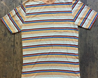 "1960s ""Stand by me"" striped pocket tee"