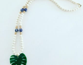 Chinoiserie Palm Leaf Beaded Necklace | green, emerald, blue and white, gold, long, statement necklace, Designs by Laurel Leigh