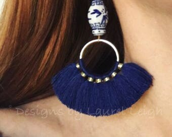 NAVY BLUE Ginger Jar Fan Earrings | fan, lightweight, blue and white, chinoiserie, gold, statement earrings, Designs by Laurel Leigh