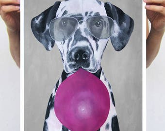 Dalmatian print from original painting by Coco de Paris: Dalmatian with bubblegum
