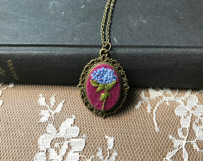 Blue Hydrangea Hand Embroidered Pendant Necklace
