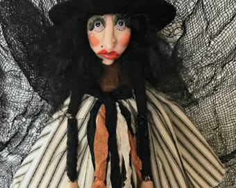 Halloween Witch Doll, Halloween Decoration, Polymer Clay Doll