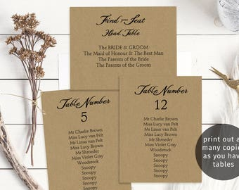 Rustic printable wedding seating chart set, individual table plans, find your seat header signs, budget seating plan