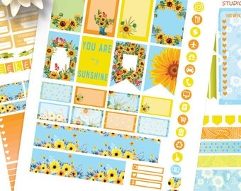 Sunflower planner stickers Printable,HAPPY PLANNER STICKERS,Weekly Kit,Happy planner Kit, Instant download,August printable Planner Stickers