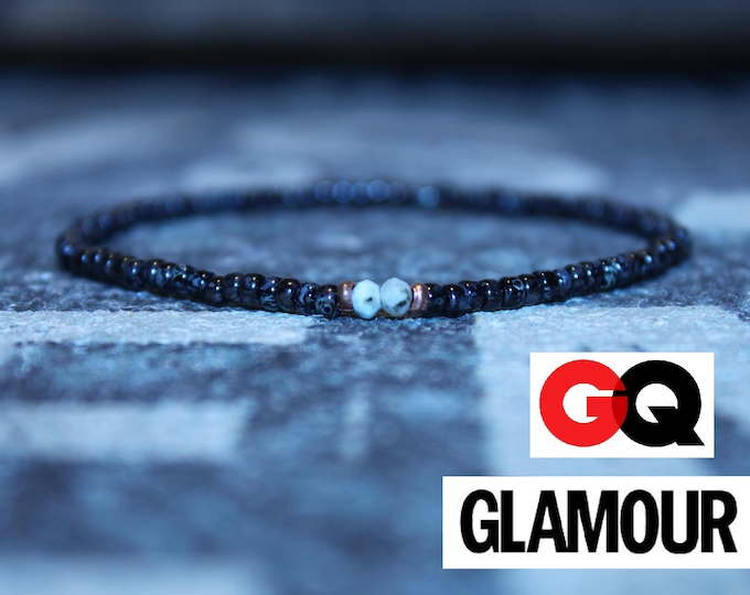 Featured listing image: Larimar Seed Bead Bracelet for Men - As Seen in GQ, GLAMOUR - Men's Bead Bracelets, Mens gift for him Husband Gift , Mens Seed Bead