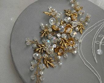 Gold Bridal Headpiece, Wedding Hair, Bridal Hair Accessories,Wedding Haedpiece, Ornament. Gold  and Crystal Bridal Headpiece.