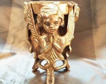 Vintage, Angel Candle Holder, Praying Angel,  Brass candle holder,Vintage Brass ,Angel, Cherub Candle Holder, vintage decor, brass  decor