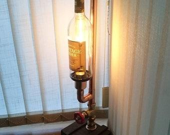 Vintage Cider Bottle Lamp,Table Lamp,Polished Copper