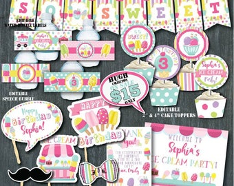 Self-Editing Ice Cream Birthday Decorations-Printable Ice Cream Decors-Popsicle Summer Party-Ice Cream Social-First Birthday-Any age-A130