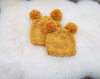 Double Pom Pom Beanie - Baby/Toddler Hat -Chunky Beanie in Mustard
