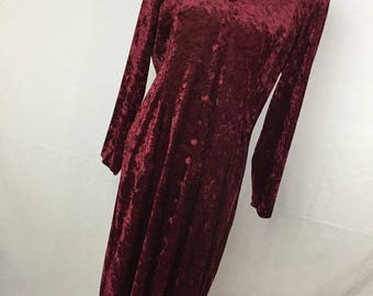 Vintage Crushed Velvet Dress 14 L Large Burgundy V Neck Long Sleeve Flowing 90s Womens' Fabric Covered Button Accent (R5)