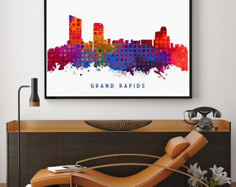 Grand Rapids Skyline Print, Grand Rapids Painting, Grand Rapids Art, Grand Rapids Wall Decor, Watercolor Grand Rapids, Michigan Art (N185)