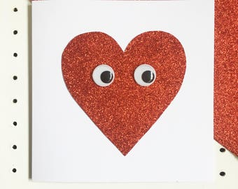 Valentines Day Card, Love Heart Card, Fun Unisex Love, Anniversary Card, Wedding Day, Red Glitter, Kitsch, Novelty Googly Eyes, Unisex Card