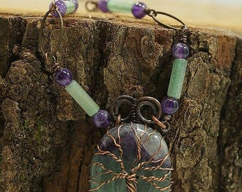 Tree of life necklace fluorite, aventurine and Amethyst beads, antique bronze brass