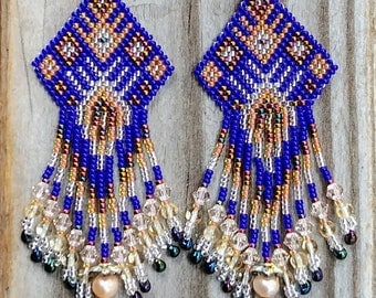 Royal Blue Beaded Earrings