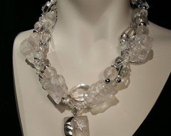Big and bold Moon and Star necklace statement choker, boulder quartz, crystals, pearls, rhinestones Perfect wedding Glamour
