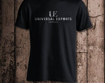 Universal Exports London | Men's tee | Metallic Silver print | Inspired by James Bond