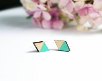 diamond earrings, geometric wooden jewelry, wooden earrings, turquoise jewelry, minimalist earrings, wooden jewelry, minimal jewelry