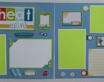Heat Wave; Summer page; 12x12 summer page; summer premade page; premade 12x12 page; summer scrapbook album; premade summer page