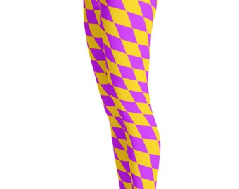 Diamond Checkered Leggings- Yoga Leggings - Patterned Leggings - Print Leggings - Mardi Gras - Halloween Leggings