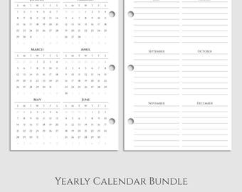 "Yearly Calendar Bundle ~ 2017 and 2018 Year-at-a-Glance & Important Dates to Remember ~ Half Letter / 5.5"" x 8.5"" / Mini 3-Ring (3RM-YCB)"