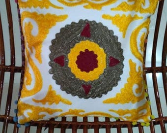Embroidered colorful Cushion covers, hand made suzani cushion covers, Turkish decor, colorful pillow cases, home decor