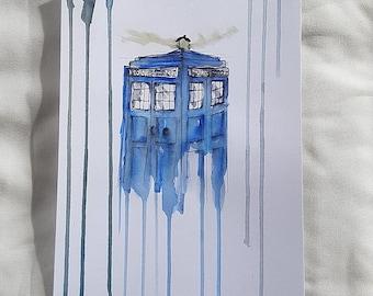 Tardis badly drawn// Tardis// Dr. Who// Whovian// UK// Police Box// Fandom// OliSkyless// Painting// Art// Handmade// Selfmade