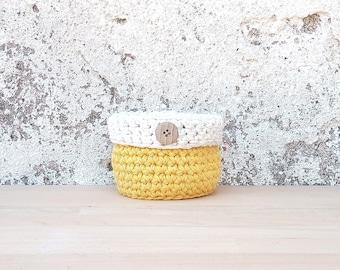 Small basket, crochet basket, miniature basket, small basket, cute basket, storage basket, home decorations, house decor, yellow nursery