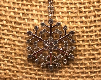 Sterling Silver Snowflake with Crystal Accents, with Chain