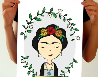 Frida Kahlo Poster - Frida Kahlo Wall Art Print - Feminist Gifts - Frida Kahlo Birthday Party Decor - Frida Kahlo Room Decor Illustration