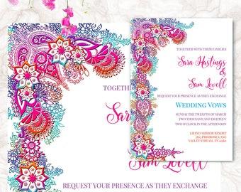 Bohemian Wedding Invitation - Bollywood Wedding Invite - Printable Invitation Suite | SARA.W