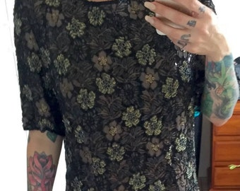 Vintage 80's Genuine Hand Sewn Frank Usher Sequinned Beaded Top Size M