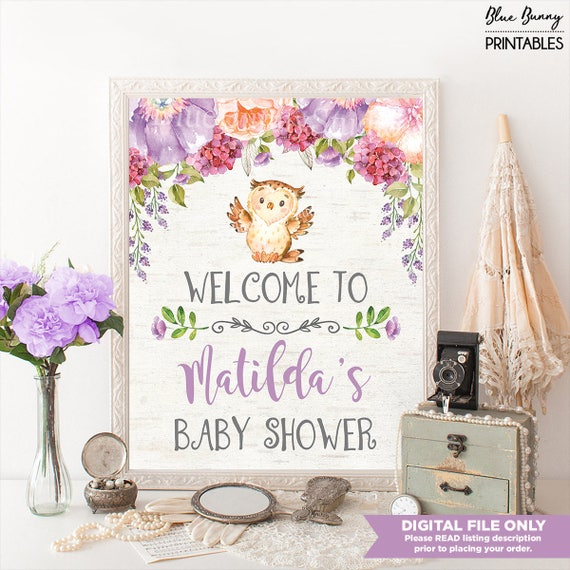 Owl Baby Shower Welcome Sign Purple Floral Baby Shower Decor