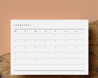 2018 Landscape Monthly Calendar Printable | 12 Month Calendar Pages | Full Year | A4 | US Letter | Minimalist | Instant Download