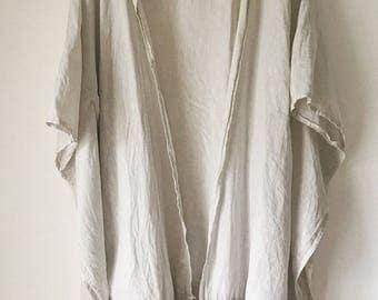 Natural Linen Fringe Kimono Throw