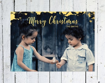 Photo Christmas Cards, Gold, Classic, Holiday Cards,Printable Christmas Cards, Printed