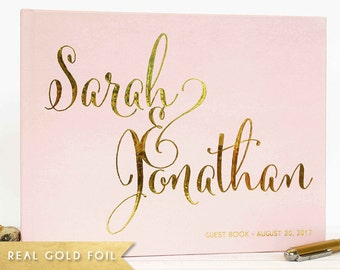 Wedding Guest Book - landscape Wedding Guest Book with Gold Foil - Custom Wedding Guest Book blush pink