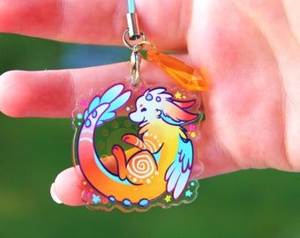 Sunspot the Dutch Angel Dragon - Acrylic Charm 1.5 Doublesided Furry Keychain cellphone Strap