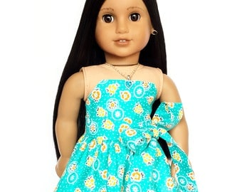 Strapless Dress, Sash, Floral Turquoise, Orange, Yellow, White, 18 inch Doll Clothes, Fits dolls such as American Girl