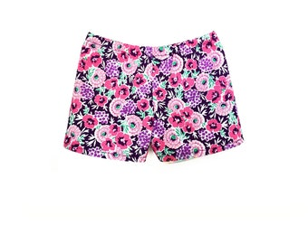 Print Shorts, Floral, Purple, Pink, Turquoise, Fits dolls such as American Girl, 18 inch Doll Clothes, Mix and Match