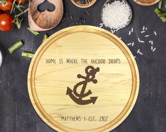 Personalized Cutting Board Round, Cutting Board Personalized, Wedding Gift, Housewarming Gift, Anniversary Gift, Christmas, Anchor, B-0055