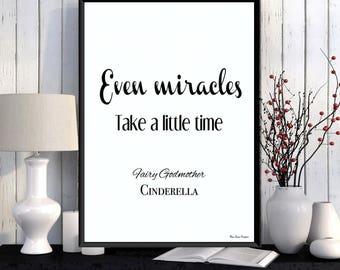 Cinderella princess, Disney print, Disney quote, Children poster, Disney princess, Kids decor, Nursery print, Cinderella Disney gift