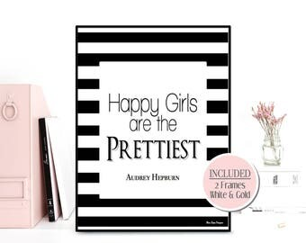 Happy girls are the prettiest quote, Audrey Hepburn quote, Quote for women, Celebrity quote, Audrey Hepburn print, Inspirational her quote