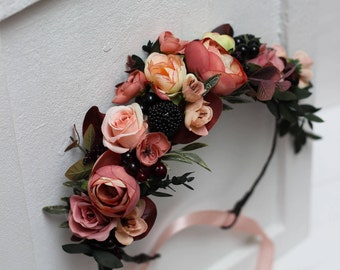 Fall flower crown Autumn wedding Orange peach floral halo Bridal headband Maternity crown Bridesmaid headpiece Wedding hair wreath